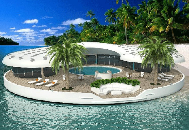 Floating home in the tropics