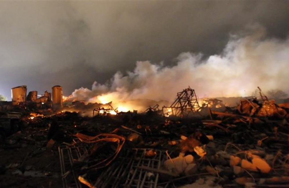 How did West, Texas Plant Explosion Register 2.1 on the Richter Scale?
