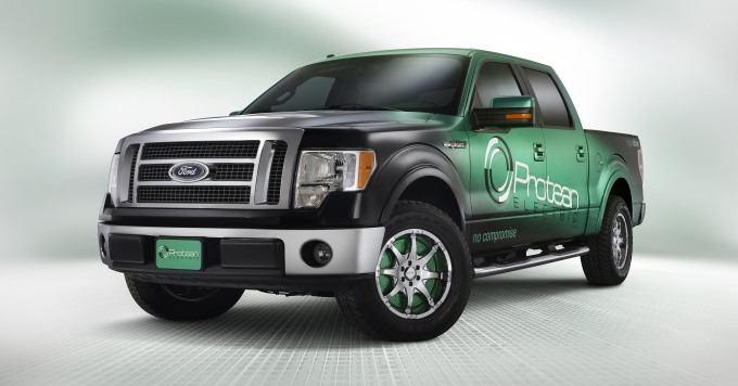 This Ford F-150 is powered by Protean in-wheel Electric Motors. Photo © Protean Electric