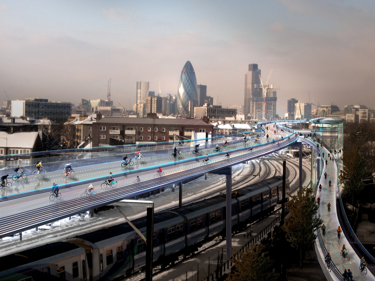 It's expected that each of the 10 routes would be used by 12,000 cyclists per hour. Photo ©  Exterior Architecture