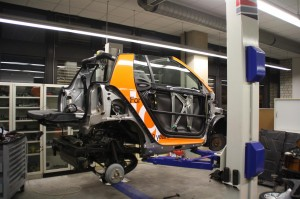 The igus® car stripped down to be retrofit with iglide® plastic bearings.