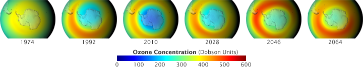 The Antarctic ozone hole (blue areas), which first appeared in the early 1980s and peaked in the 2000s, is expected to shrink markedly by 2064 (Image courtesy  NASA )