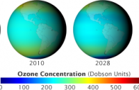 With continued production of CFCs, ozone levels worldwide would have dropped to dangerously low levels. (Image courtesy NASA )