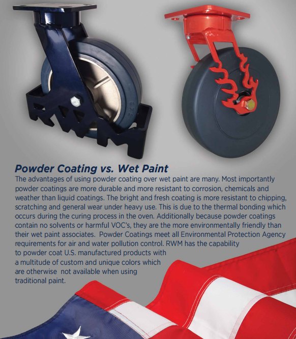 powder coating vs wet paint making powder coating a standard on us industrial caster products. Black Bedroom Furniture Sets. Home Design Ideas