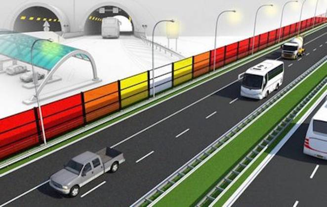 Colorful Highway Noise Barriers Generate Solar Power in the