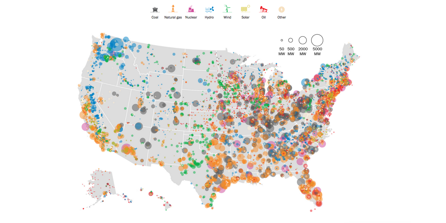 united states industry map This Map Shows Every Power Plant Around the United States in
