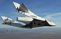 Virgin Galactic' SpaceShipTwo on its first test flight over the Mojave Desert, California