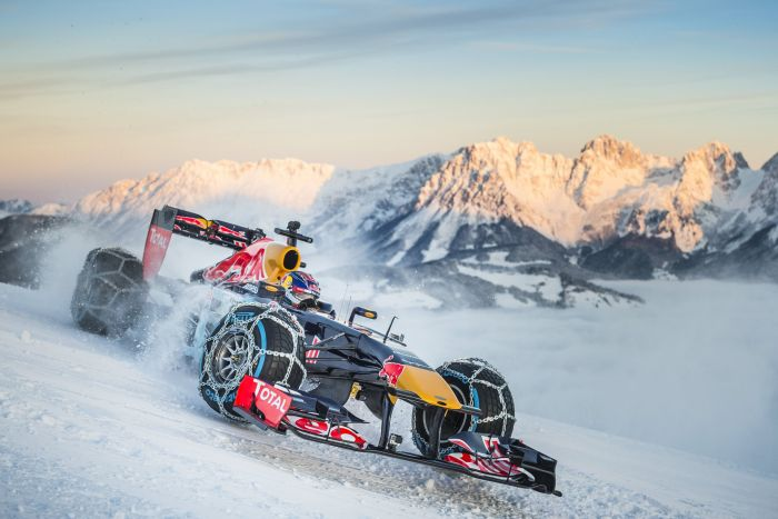 Red Bull Racings Max Verstappen Just Drove A Formula 1 Car Down Ski Slope
