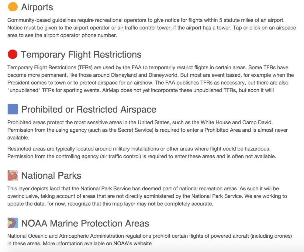 Airmap Drone Flight Restrictions