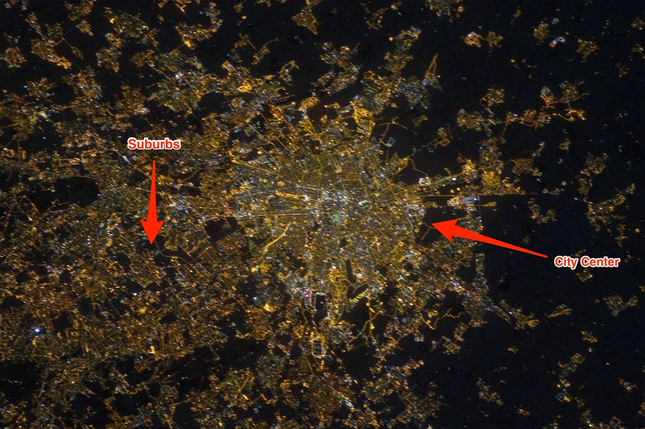 Image of Milan at night in 2012, captured by astronauts aboard the ISS (Image courtesy NASA)