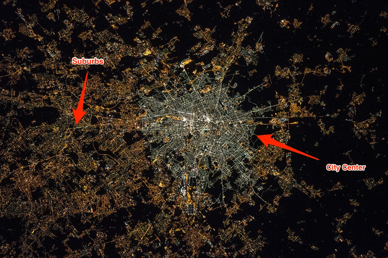 Image of Milan at night in 2015, captured by astronauts aboard the ISS (Image courtesy NASA)