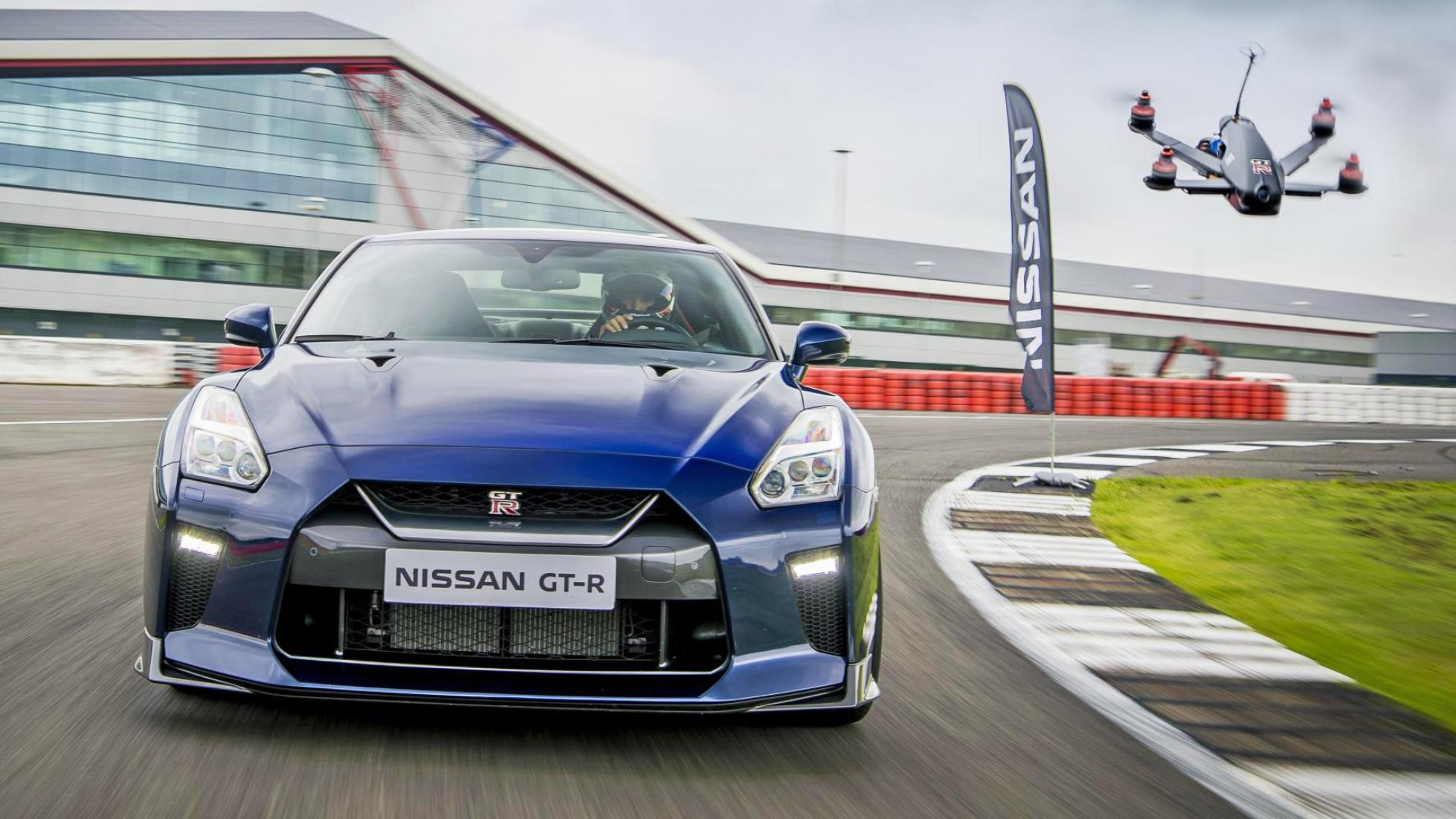 nissan sportscar races gt-r drone capable of going 0 to 60 mph in