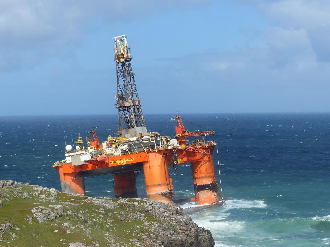 Storm Blows 17,000 Ton Oil Rig Ashore at the Beach of Dalmore in