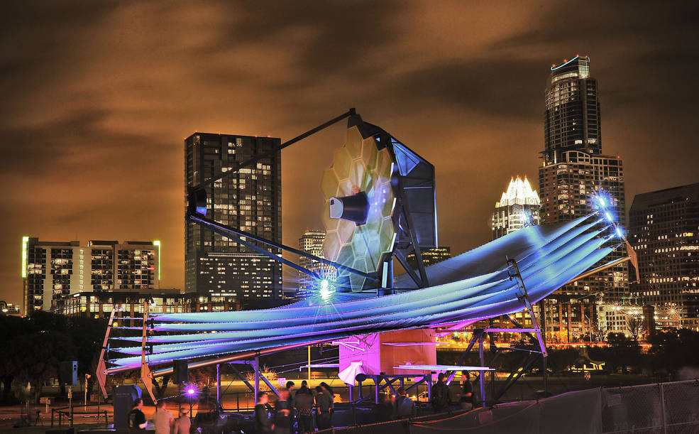 The full-scale James Webb Space Telescope model at South by Southwest in Austin. Image courtesy NASA/Chris Gunn