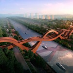 China's Lucky Knot Bridge Stretches Over a Highway and the Dragon King Harbor River