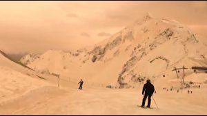 Russia and Eastern Europe Blanketed with Orange Snow