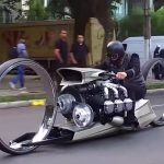 Ultra-Sleek TMC Dumont Motorcycle Has Rolls-Royce Aircraft Engine!