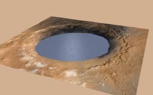 Mars Express Orbiter Finds Huge Crater of Water Ice on Mars