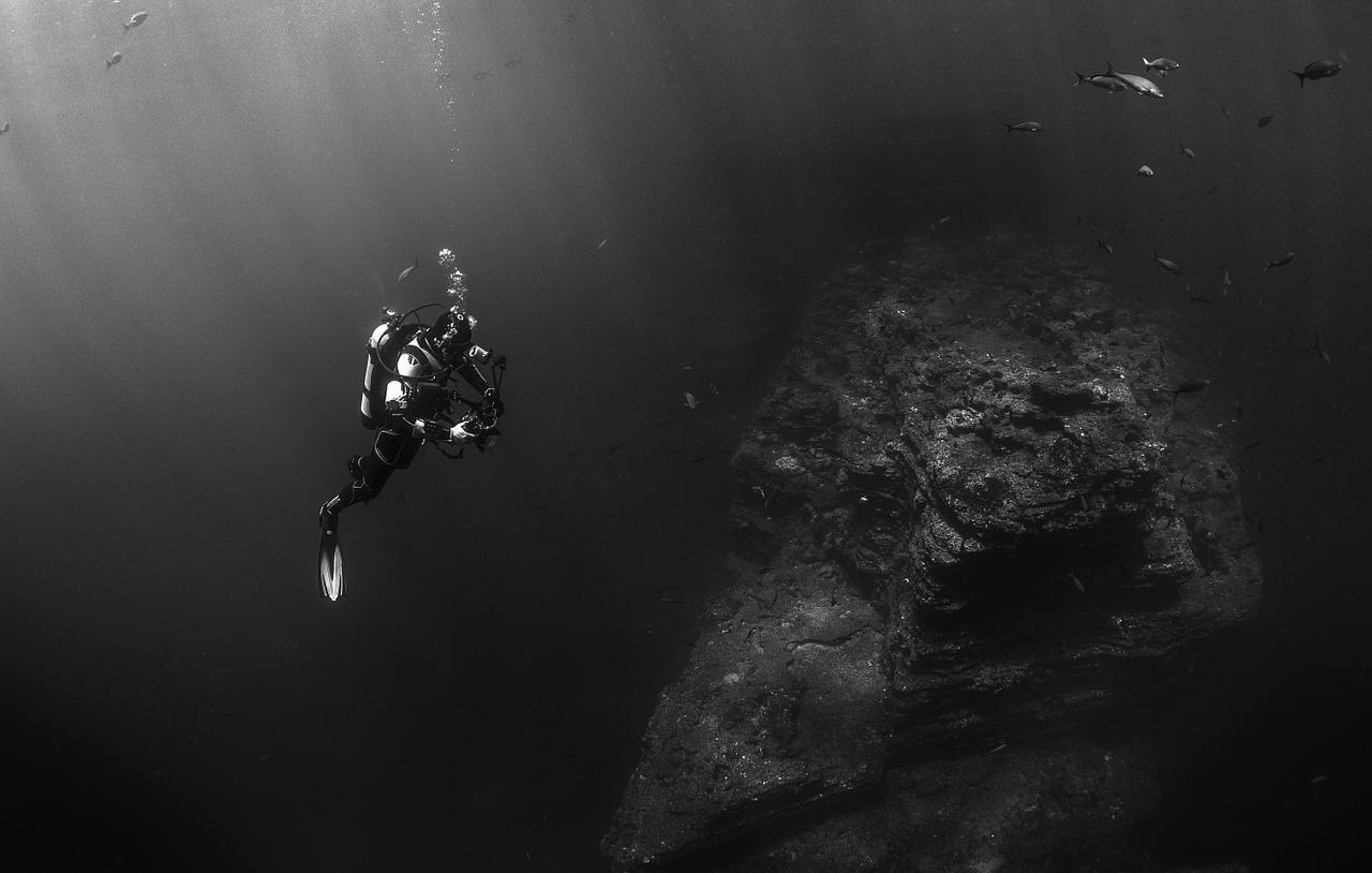 Scuba Diver Under Water