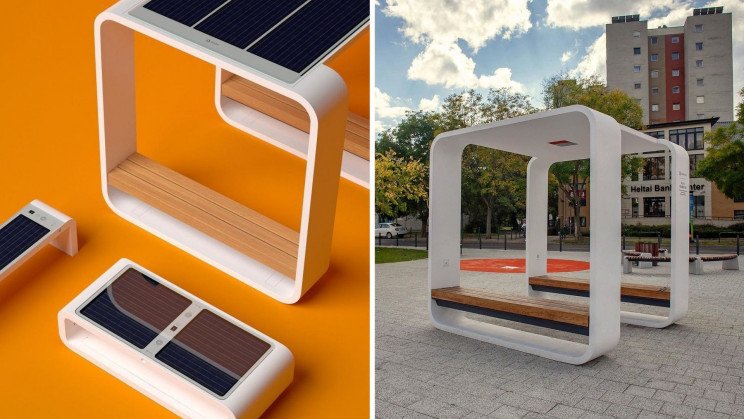 The Kuube Solar-Powered Smart Benches provides Charging Ports and WiFi Hotspots