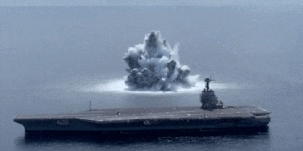 US Navy Detonates a Massive Explosion to Test Its New Aircraft Carrier
